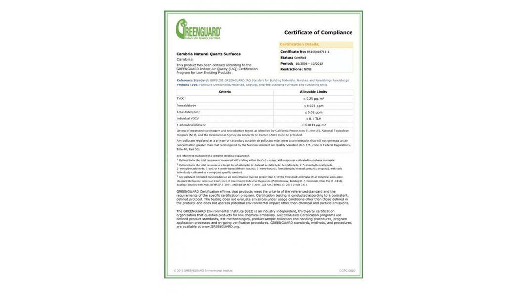 Сертификат качества кварца Cambria