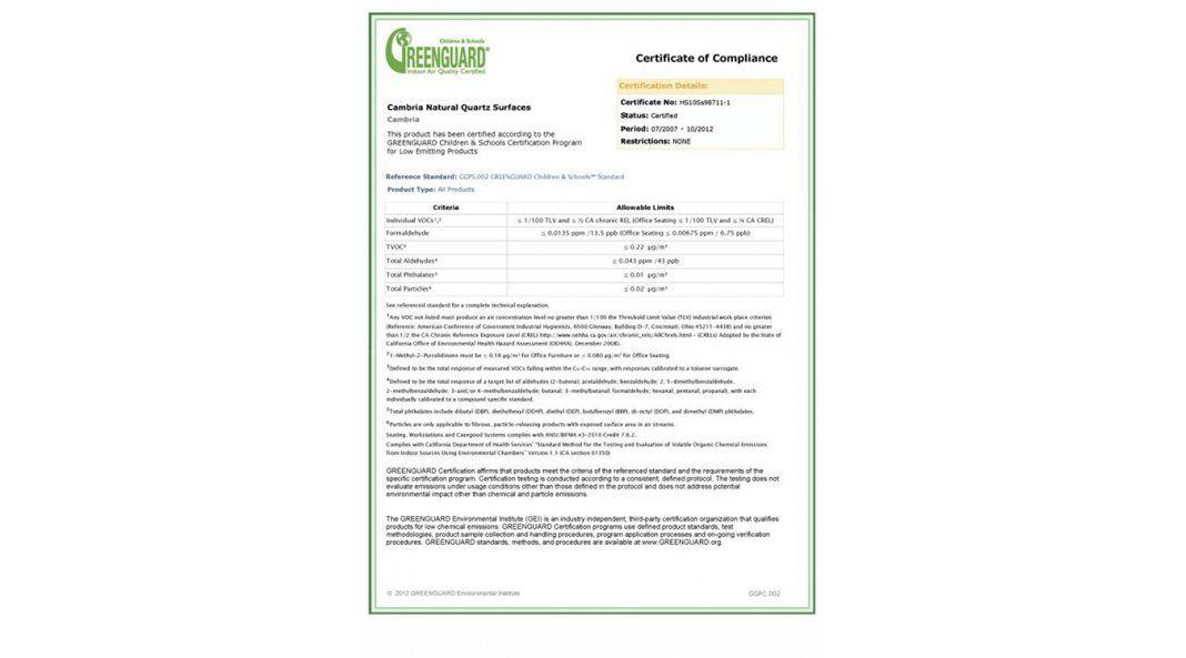 Сертификат качества кварцевого камня Cambria