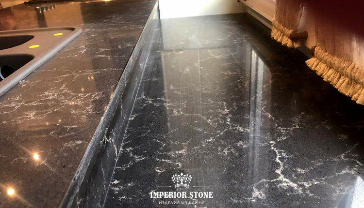 Искусственный камень: остров на кухню Vicostone Dark Emperador BQ8560 - фото