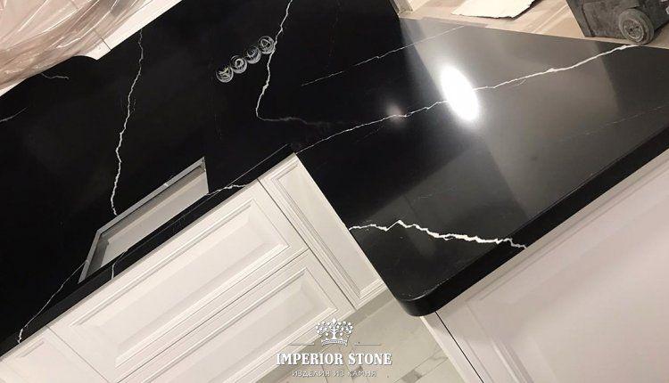 Темная кухонная столешница Silestlone Marquina Eternal - фото