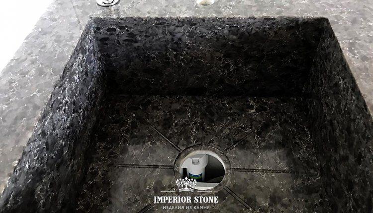 Интегрированная мойка из искусственного камня Vicostone Titanium Brown BQ9360 - фото