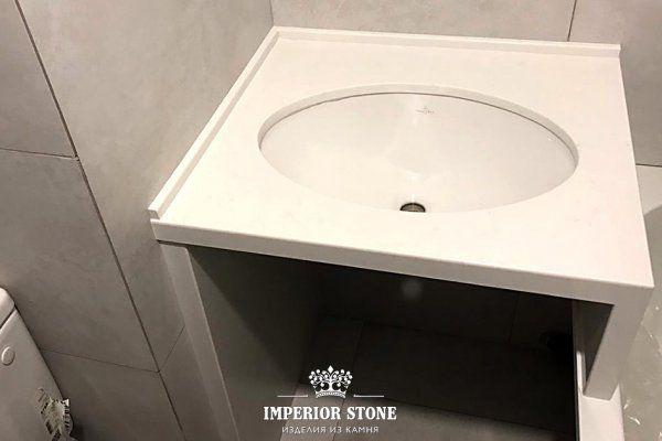 Прямая столешница в ванну TechniStone Noble Supreme White
