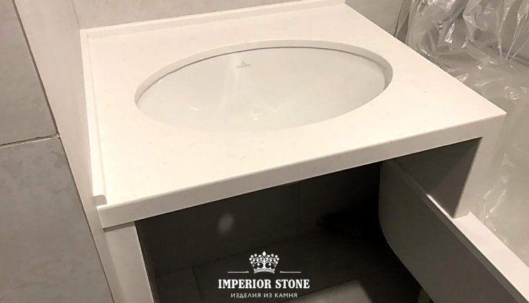 Столешница из искусственного камня TechniStone Noble Supreme White - фото