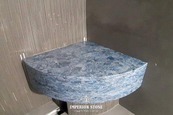 Сидение в ванную Vicostone Thunder Blue - фото