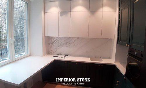 Акриловая столешница с интегрированной мойкой на кухню Tristone S-203 Snow Pearl коллекции Classical- фото