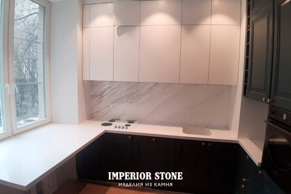 Акриловая столешница с интегрированной мойкой на кухню Tristone S-203 Snow Pearl коллекции Classical - фото