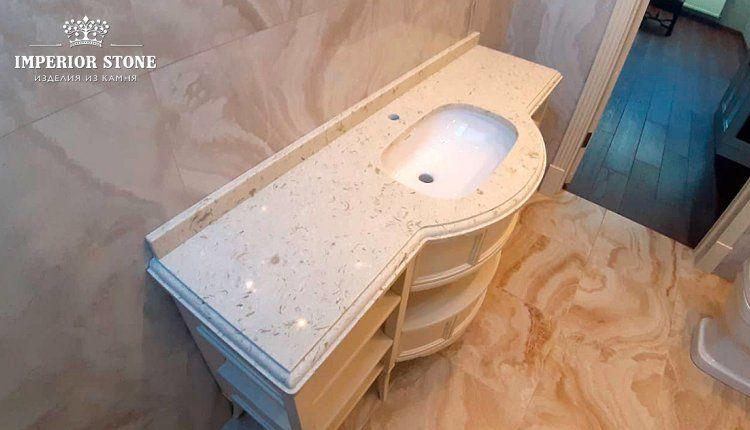 Столешница из искусственного камня в ванну Avant Quartz 9023 Лотарингия - фото
