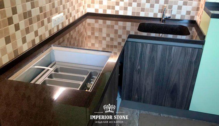 Столешница из искусственного камня Samsung Staron Tempest FC158 Coffee Bean - фото