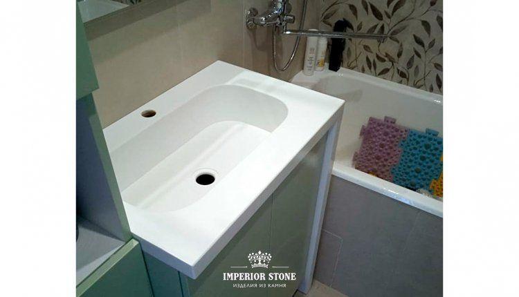 Столешница из искусственного камня в ванную LG Hi-Macs S006 Arctic White Solid - фото