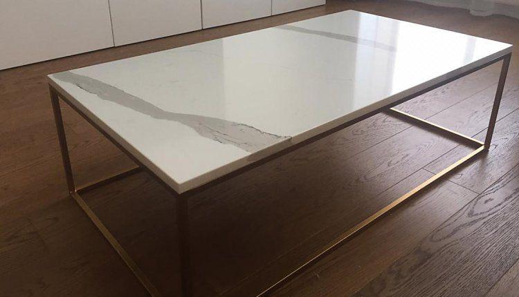 Журнаяльный столик из остатков слэба Vicostone - фото