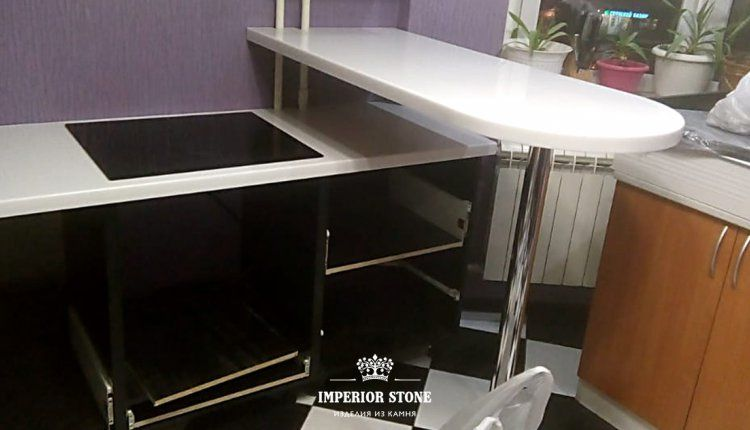 Столешница с мойкой и барная стойка из акрилового камня Staron SD001 Dazzling White - фото