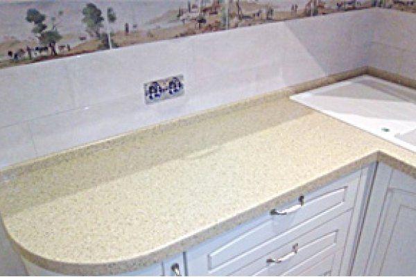 Столешница на кухню из акрилового камня Tristone F-108 Beige Stone коллекции Romantic. Наши изделия из камня на заказ