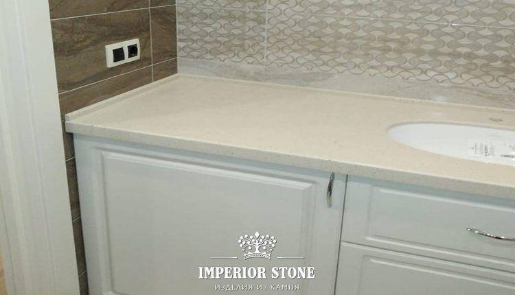 Столешница в ванную из акрилового камня Hanex Trio T-068 Rice Сookie - фото