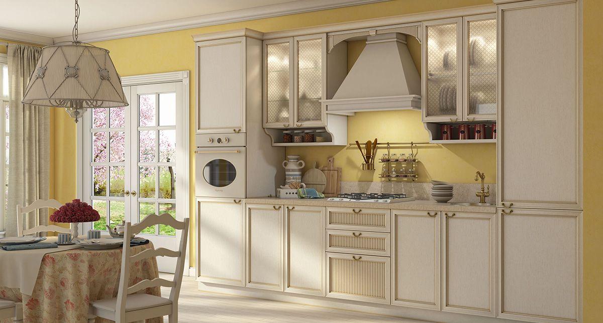 Светлая столешница гармонично вписалась в бежевый кухонный гарнитур