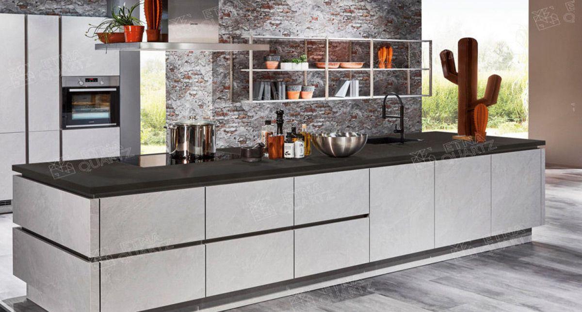 Столешница на кухню из кварца Etna Quartz Black Perlino EQPM 028