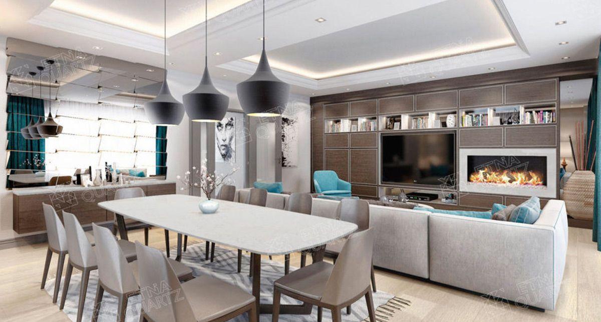 Белая кухонная столешница Etna Quartz Bianco Carrara EQTM 013