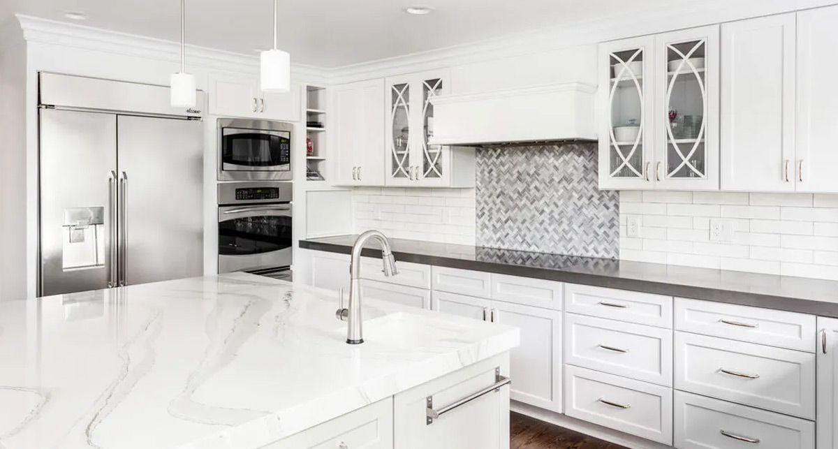 Столешница на кухню из кварца Etna Quartz Bianco Carrara EQTM 013