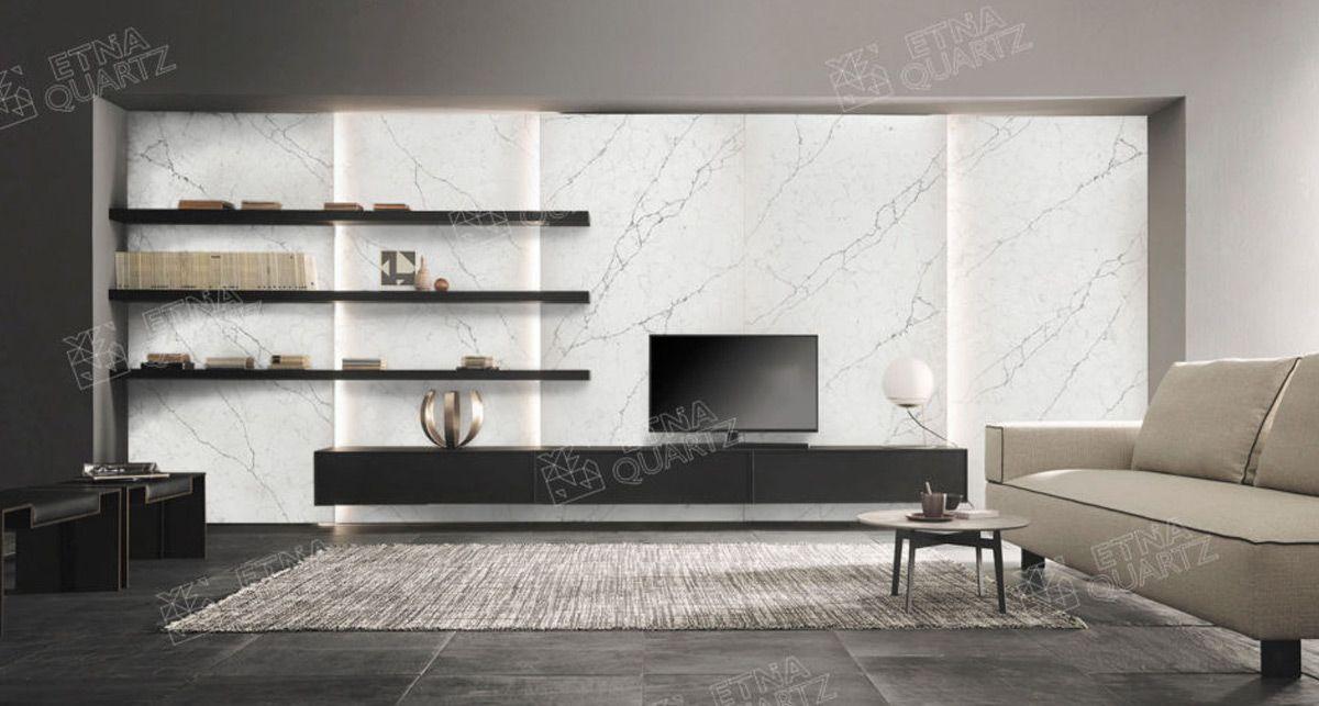 Стеновая панель под мрамор Etna Quartz Perlino Bianco EQHM 001