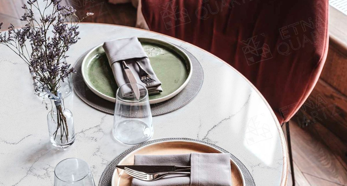 Столешница на кухню под мрамор Etna Quartz Perlino Bianco EQHM 001
