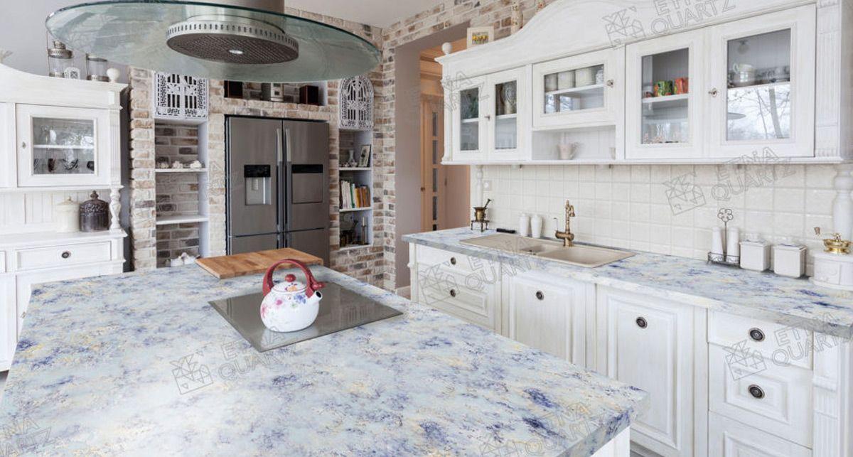 Столешница на кухню Etna Quartz Azul Imperiale EQPM 025