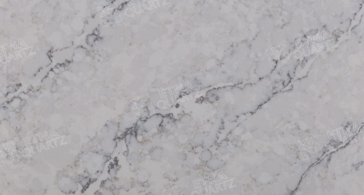 Фактура кварцевого агломерата Etna Quartz Delicato White EQTM 010