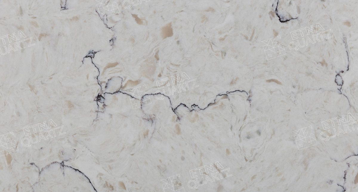 Фактура кварцевого агломерата Etna Quartz Bianco Romano EQTG 011