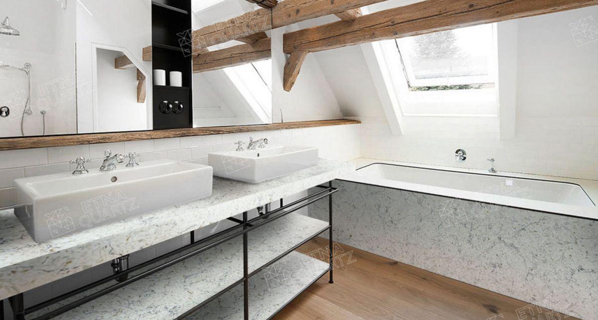 Столешница в ванну Etna Quartz Bianco Romano EQTG 011