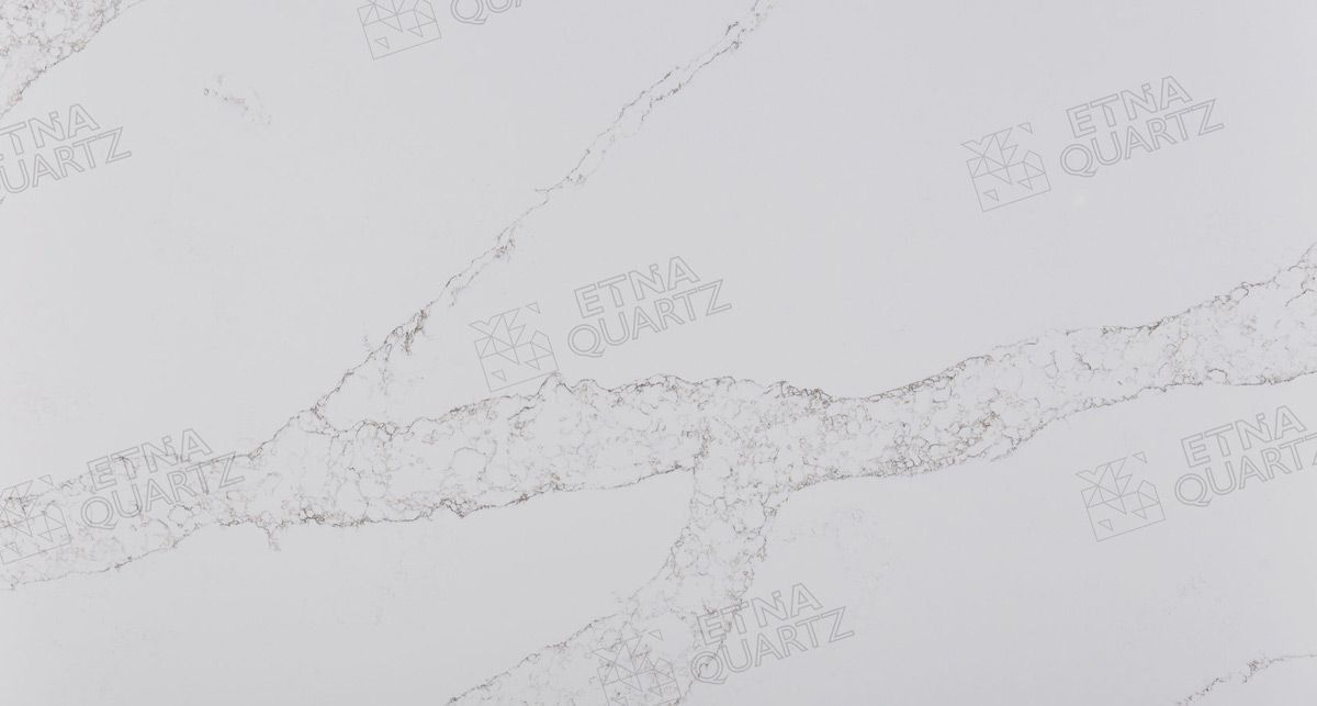 Фактура кварцевого агломерата Etna Quartz Statuario Venato EQTM 016