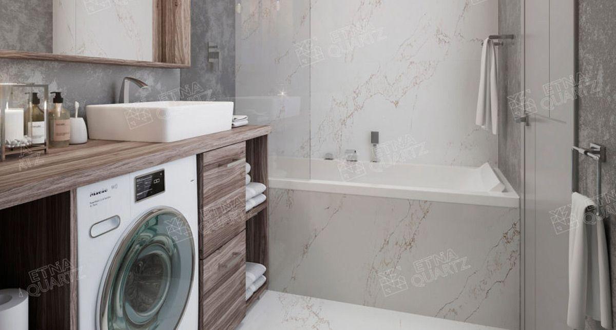 Столешница для ванной Etna Quartz Statuario Venato EQTM 016