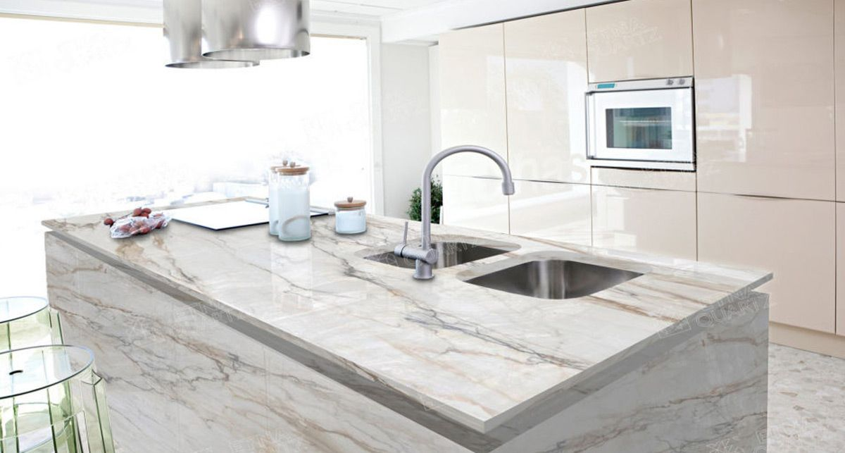 Кухонная столешница под мрамор Etna Quartz Calacatta Borghini EQTM 018