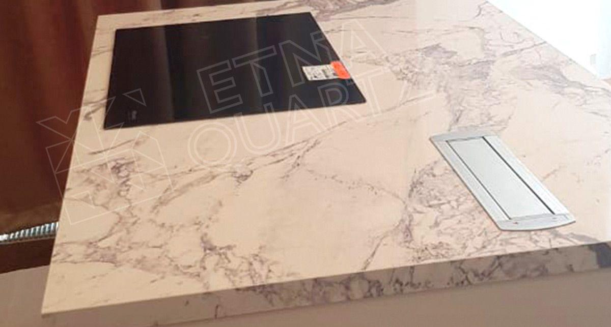Кварцевая столешница под мрамор Etna Quartz Super White EQTM 019
