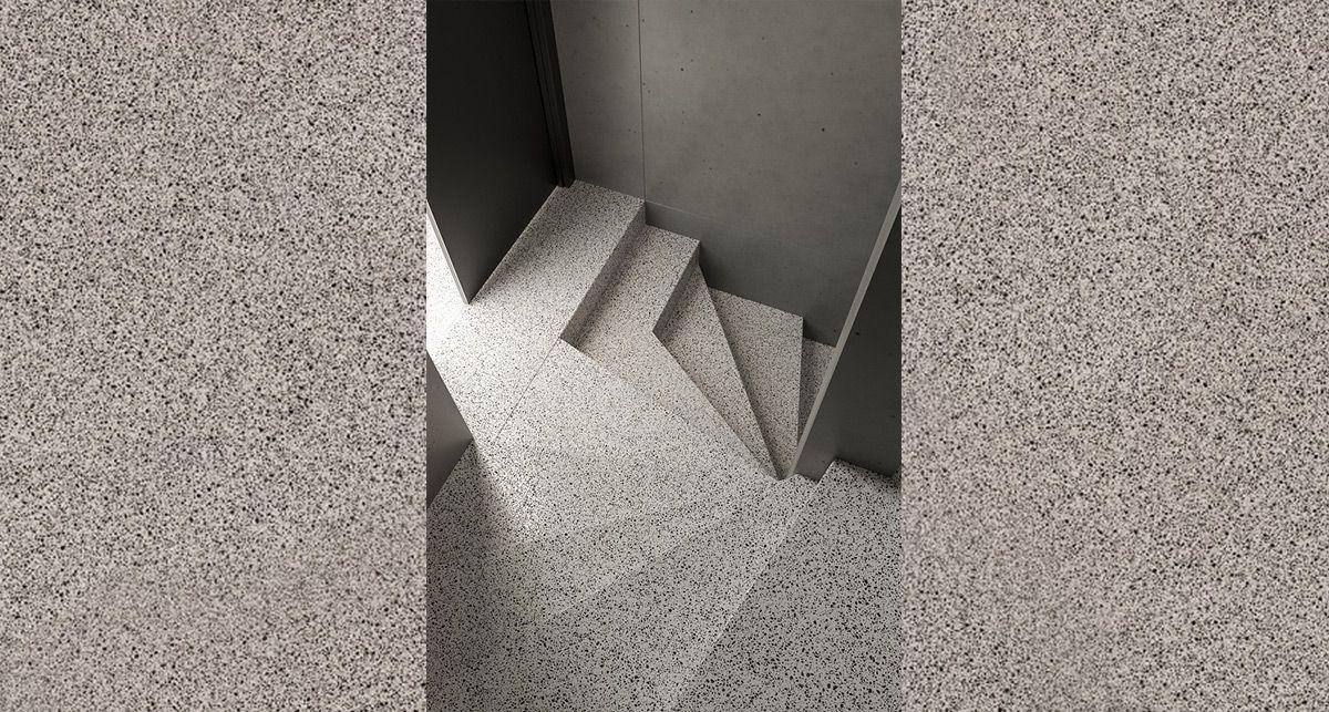 Лестница из кварца TechniStone Taurus Terazzo White