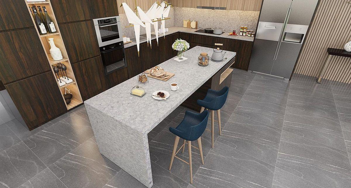 Vicostone Terreno серая столешница на кухню